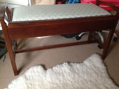 Duet Piano Stool Wth Storage,Excellent Condition, Mahogany, Re-Upholstered