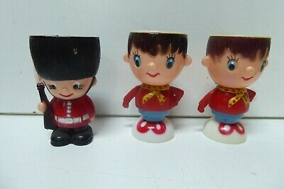 3 VINTAGE EGG CUPS  NODDY BEEF EATER PALACE GUARD RETRO 1960s