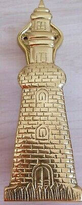 "VINTAGE SOLID BRASS Lighthouse Door Knocker 6 1/4"" Ocean Nautical  Theme"
