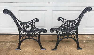 Vintage Lions Head Heavy Ornate Cast Iron Bench End Sides ( OLD )