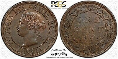 1898 H Canada Large Cent PCGS MS-63 BN High H 1c