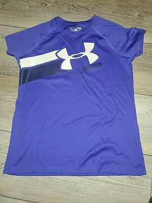 Purple Under Armour Girls Athletic T-Shirt Youth Large