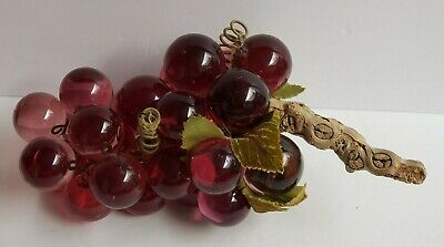 """Vintage Large Maroon Acrylic Lucite 1.5"""" 27 Grapes Cluster Driftwood Stem 13"""""""