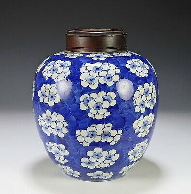 Antique Chinese Blue and White Porcelain Prunus Jar with Kangxi Mark