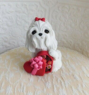 Maltese Valentine Heart Candy Box sculpture Clay Mini by Raquel at theWRC