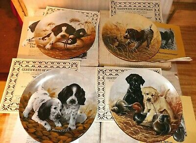 """Knowles """"Field Puppies"""" Collector plates by Lynn Kaatz~ LOT OF 4~ w/COA & boxes"""