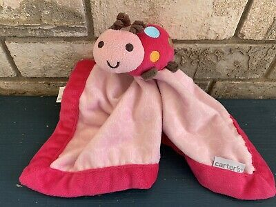 Carter's Pink Ladybug Plush Baby Security Blanket Velour Lovey