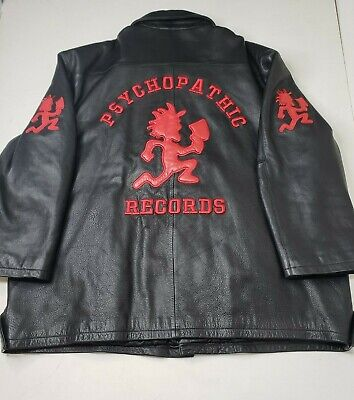 Vintage Insane Clown Posse ICP Hatchet Man Pyscopathic Records Leather Jacket 3X