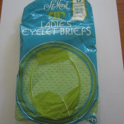 Vintage St Mark lacy eyelet cotton knickers panties briefs pants Lime Green s12