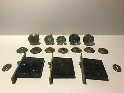 Antique Door Lot Knobs Octagon Crystal & 12 Point, And Brass w Penn Mortise