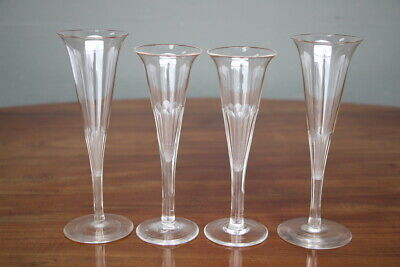 4 antique tall champagne flute wine glasses hand blown facette cut 1840's French
