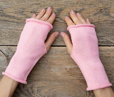 Light pink cotton hand knit gloves women fingerless mittens lightweight summer