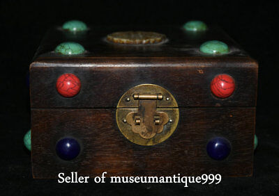 19CM Old Chinese Wood Inlay Gem Jade Dynasty Carved Storage jewelry Box Boxes