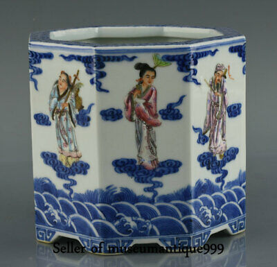 """5.6"""" China Famille Rose Porcelain Qing Dynasty 8 Immortals Gods Brush Pot Marked"""