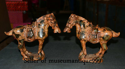20CM Old Chinese Ancient Xiu Jade Carving Tang Horse Equine Animal Statue Pair