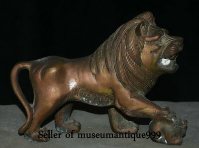"""7.2"""" Old Chinese Bronze Dynasty Feng Shui Lion Beast Animal King Ball Sculpture"""