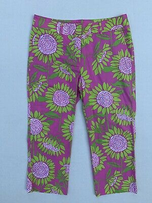 Lilly Pulitzer Women's 10 Pants Ankle Cropped Capris Pink Green Floral Cotton