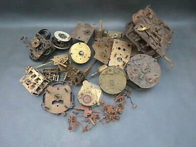 Job lot of vintage part clock movements & other parts for spares steampunk