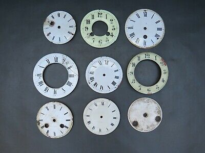 Job lot of enamelled clock dials faces chapter rings to restore for parts spares