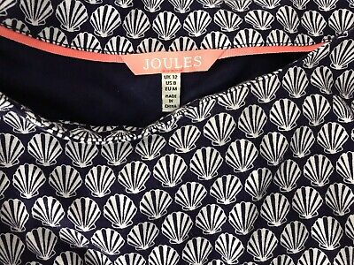 """Joules Claudia stretchy Jersey shell print tunic dress size 12 Navy blue L 35"""""""