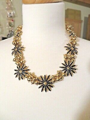 """New Talbots Navy Blue/Gold Bead Flower  Necklace  18-21"""""""