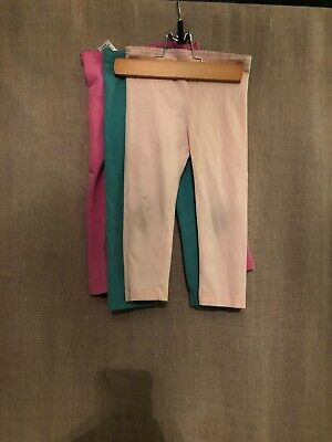 Lot Of 3 Tea Collection Pink Teal Capri Length Leggings Size 5 Some Knee Stains