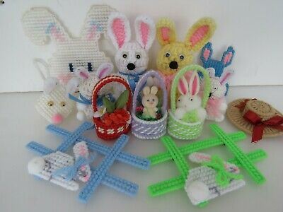 13 Vintage Handcrafted Easter Decoration Lot Bunny Baskets Plastic Canvas A1718
