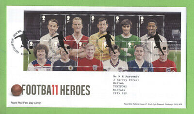 G.B. 2013 Football Heroes M/S on Royal Mail on First Day Cover, Tallents House