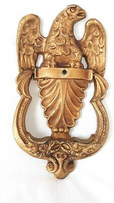 Brass Plated Metal Bald Eagle Door Knocker Sculpture Front Door Accessory Marked