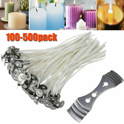 100-500pcs Pre Waxed Candle Wicks W/ Sustainers For Making Tea light Candles UK