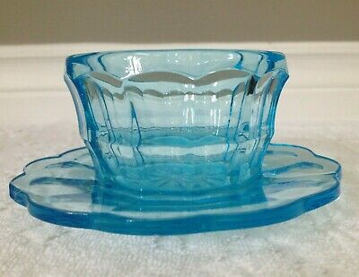 Vintage-Depression Era; Clear Turquoise Sea-Blue Thick Glass, Fairy-Lamp Base