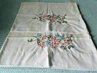 PR vintage cotton pillowcases with hand embroidery pink flowers blue bird