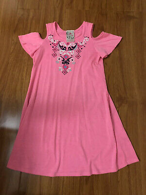 Jenna & Jessie Girls Cold Shoulder Dress Pink Color  Kids Size 6X Summer Dress