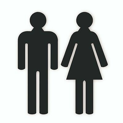 Black Acrylic Male & Female People Toilet WC Door Signs in