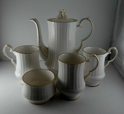 Royal Windsor  Fine Bone China White Coffee pot 3 cups and sugar Wedding Bells