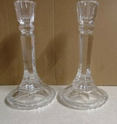 Pair of Large Glass Candle Stick Holders Approx 22cm