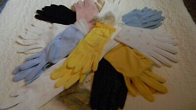 Vtg. Lot Of 12 Pairs Ladies Gloves Various Sizes, Brands & Materials - Nice!
