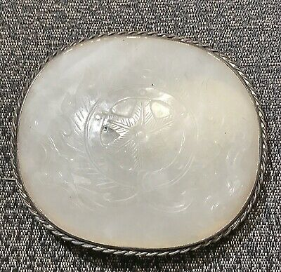Antique Chinese White Jade Carved Plaque in Silver Pin
