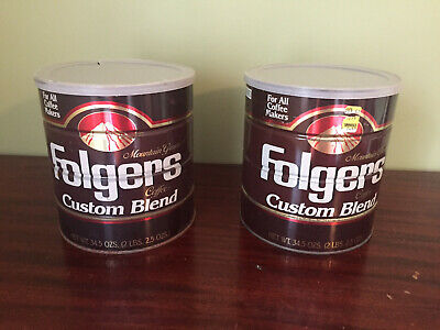 Lot of 2 Vintage Brown 1991 Folgers Coffee Tin Cans with Lids: READ DESCRIPTION