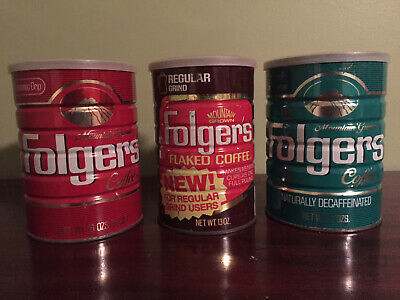 Lot of 3 Vintage 1984 Folgers Coffee Tin Cans with Lids: READ DESCRIPTION
