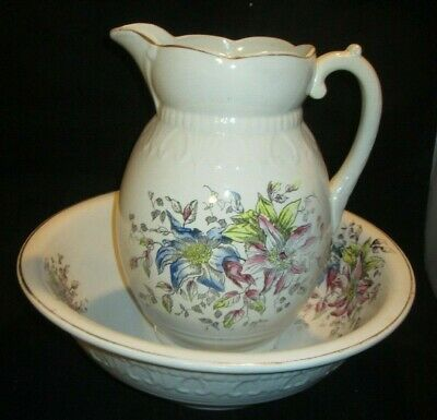 Victorian Antique Wash Water Pitcher And Wash Basin Bowl white floral Champion