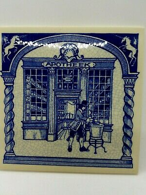 VTG BURROUGHS WELLCOME PHARMACY 6X6 PILL TILES-DELFT HOLLAND SET OF 6 England