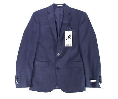 Bar III Mens Blazer Navy Blue Size 34 Short Two Button Wool Slim Fit $425 099
