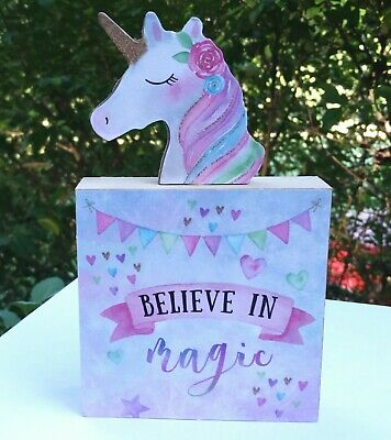 """Unicorn Magic Wooden Table Top Square Plaque Sign 6"""" """"New"""""""