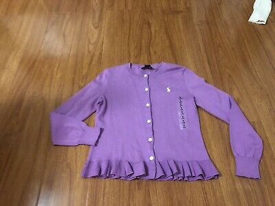 New! Polo Ralph Lauren Girls Thin Knit Cardigan Size S (7) Purple Color