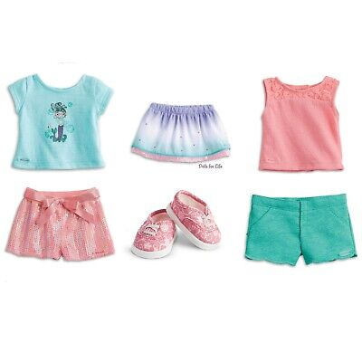 """American Girl Truly Me Summer 18"""" doll Outfit Collection 2 Mermaid Shirt NEW LOT"""