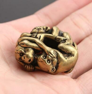 Brass Chinese Collection old Antique Zodiac monkeys Exquisite Key buckle Pendant
