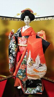 "Vintage Japanese Geisha doll in Kimono 23"" on wooden base Antiques 30-40years"