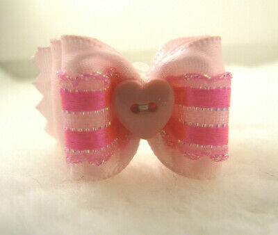 """Bwb 1"""" Dog Top Knot Bow With Pink Ribbons For Valentine-Maltese-Yorkie-Shih-Tzu"""