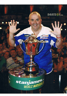 """Phil Taylor 1960- autograph 8""""x12"""" photo signed In Person professional darts"""